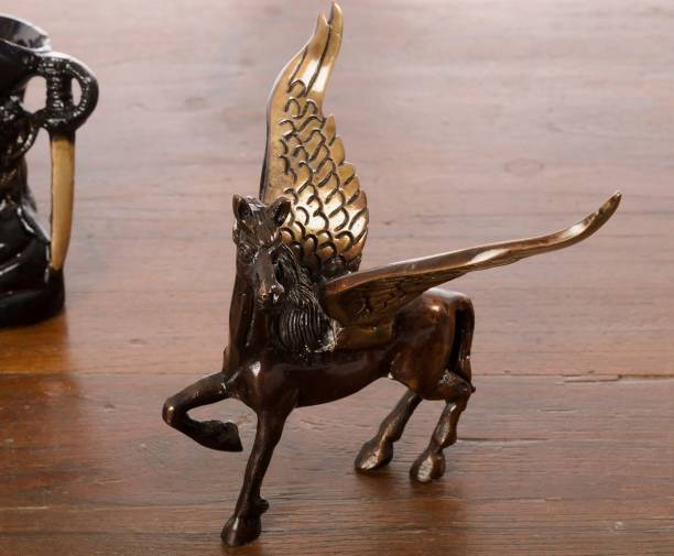 Flipkart SmartBuy Brass Antique Finish Flying Angel Horse Decorative Showpiece  -  10 cm