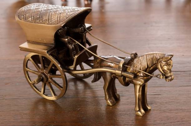 eCraftIndia Antique Finish Horse Carriage Decorative Showpiece  -  7 cm