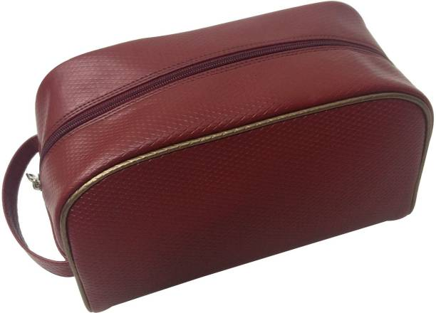 Essart Faux Leather self-print vanity pouch single compartment with zipp closure - VP-1110-Maroon Makeup Vanity Box