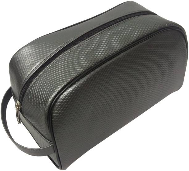 Essart Faux Leather self-print vanity pouch single compartment with zipp closure - VP-1110-Grey Makeup Vanity Box