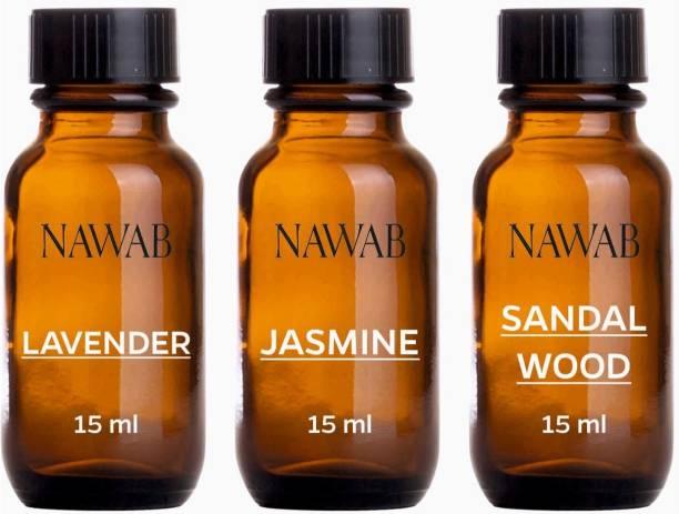 NAWAB essential aroma Diffuser oil(Lavender,Jasmine,Sandalwood-15ml each) Aroma Oil