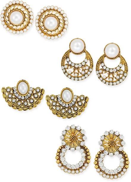 Combo Of 4 Ethnic Zinc Stud Earring