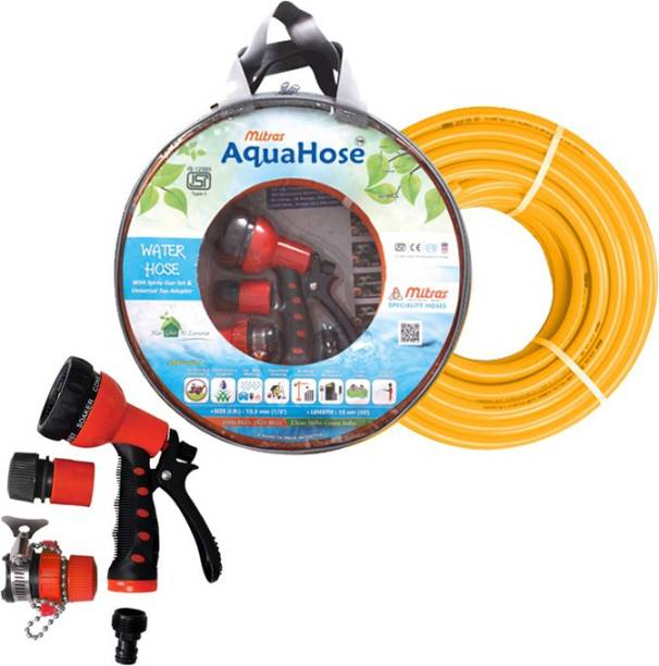 AquaHose Water Hose Set Orange 7.5mtr  12.5mm ID  Hose Pipe Spray Gun