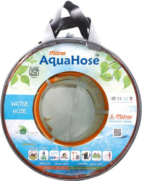 "AquaHose Water Hose Orange (20mm ID) (3/4"") - 100 ft. (30 mtr) ISI Marked Hose Pipe Vehicle Brake Cleaner"