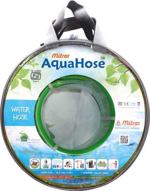 """AquaHose Water Hose Green (12.5mm ID) (1/2"""") - 100 ft. (30 mtr) ISI Marked Hose Pipe Vehicle Brake Cleaner"""