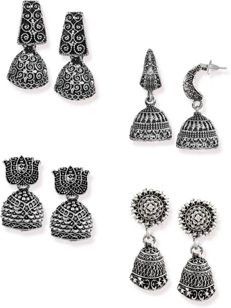 Zaveri Pearls Combo of 4 Dark Antique Silver Zinc Jhumki Earring