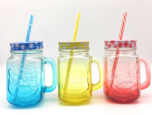 Satyam Kraft Shaded Mason Jar with Reusable straw pack of 3 ( Random Color ) Glass