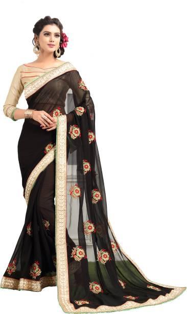 94e1c70520935 Pratham Blue Embroidered Fashion Georgette Saree