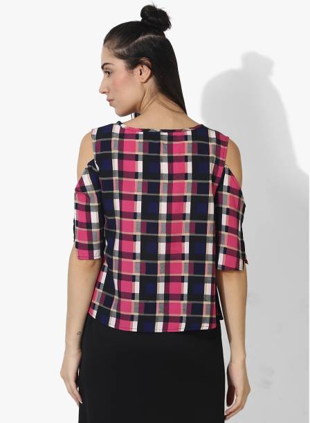 be72f21a53c99 shilpkala Casual Half Sleeve Checkered Women s Pink Top
