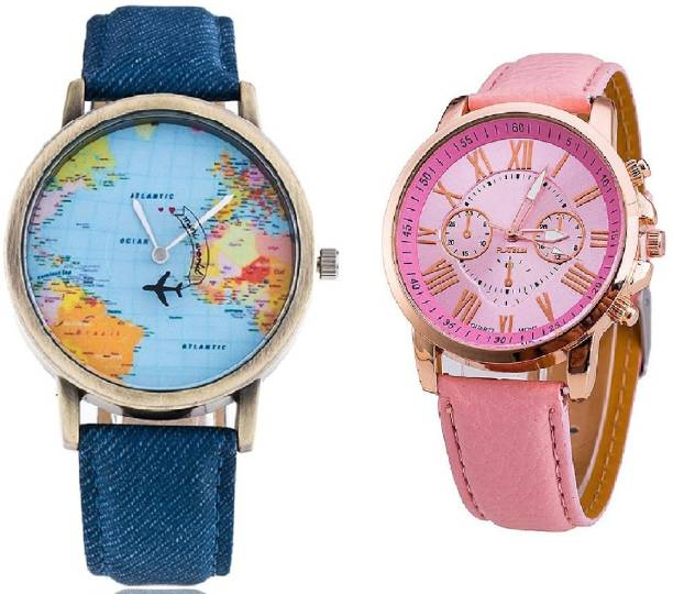 Cosmic wrist watches buy cosmic wrist watches online at best cosmic world map chronograph pattern with geneva platinum party wear watch for couple gumiabroncs Choice Image