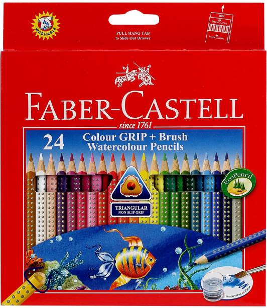 FABER-CASTELL 24 Colour Grip Water color Pencils + Brush Gift Pack