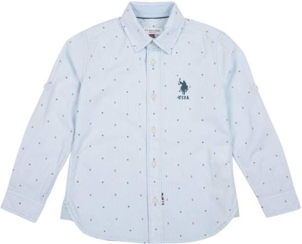 U.S. POLO ASSN. Boys Printed Casual Blue Shirt