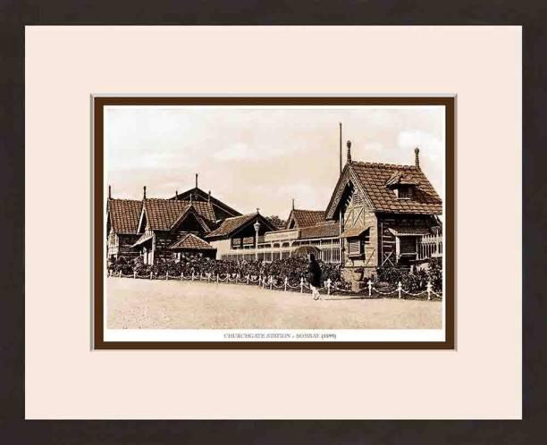 Old Vintage Bombay (Mumbai) Wooden Photo frame of Churchgate Station Fine Art Print