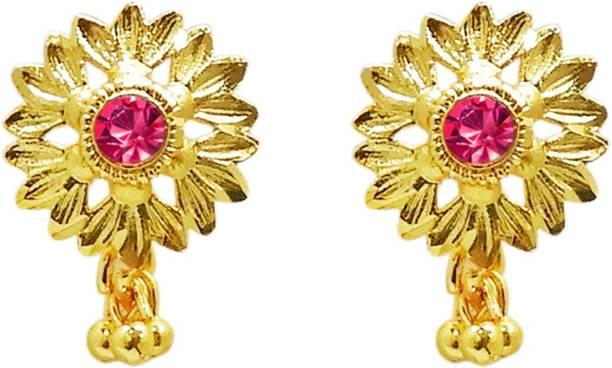 bea46cc77 Kriaa by JewelMaze Gold Plated Pink Austrian Stone Stud Earring -1311742 Alloy  Stud Earring