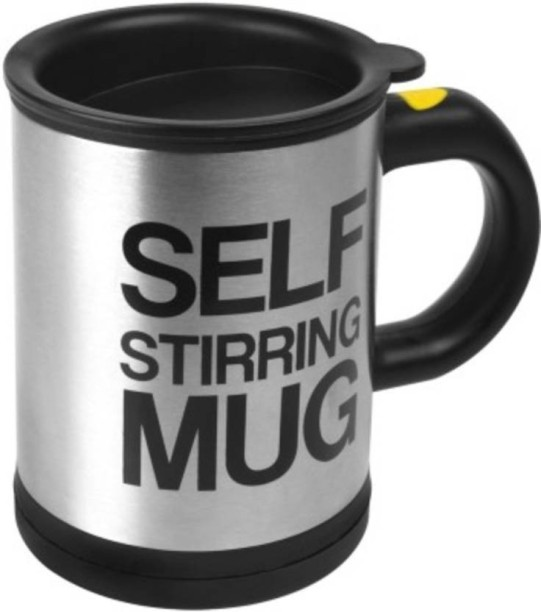 Tuelip Self Stirring 390 Ml (Silver) Stainless Steel Mug