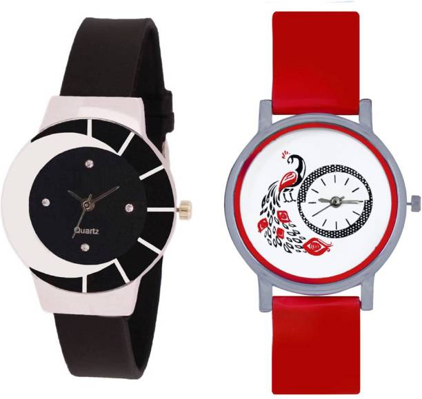 9d91f2d32 SPINOZA black white color fancy beautiful glass watch with Red glory  designer and beatiful peacock fancy