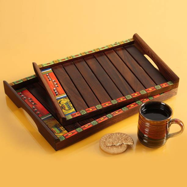 ExclusiveLane Warli Hand Painted Nested Brown Cup Tray Serving Set
