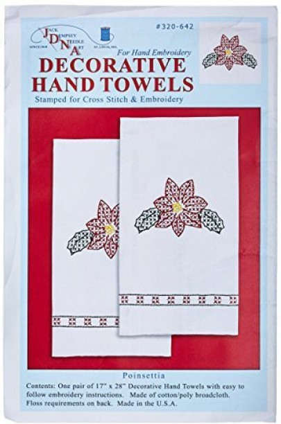 "Jack Dempsey Stamped White Decorative Hand Towel Pair 17/""X28/""-Fluttering Butterf"
