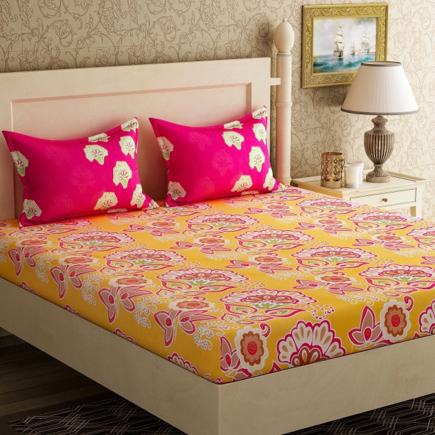 Delicieux Bella Casa 104 TC Cotton Double Floral Bedsheet