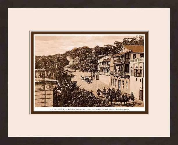 Old Vintage Bombay (Mumbai) Wooden Photo frame of H E Governor of Bombay Driving Through Walkeshwar Road Fine Art Print