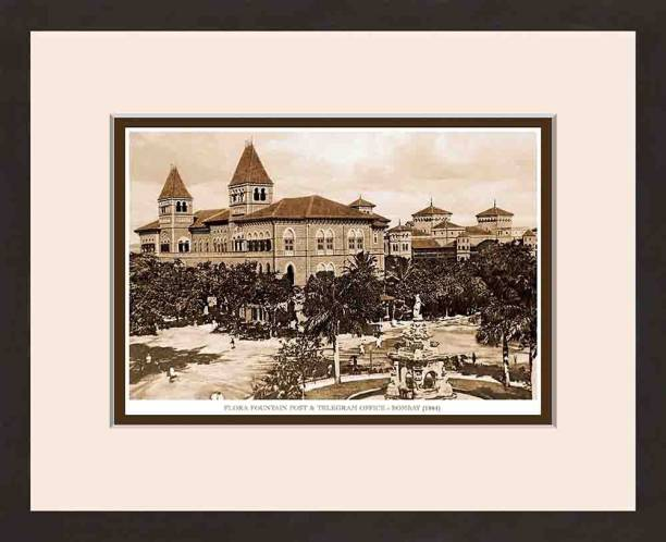 Old Vintage Bombay (Mumbai) Wooden Photo frame of Flora Fountain & Telegram Office Fine Art Print