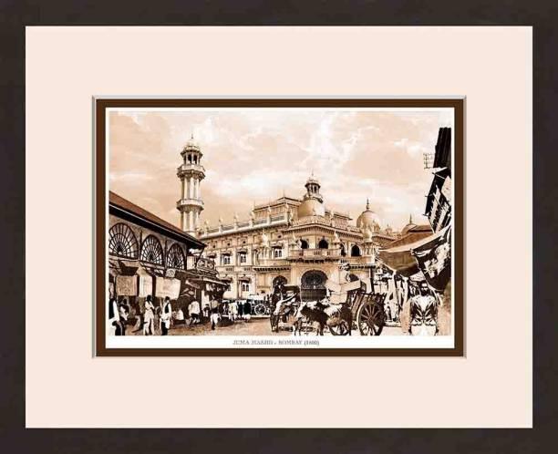 Old Vintage Bombay (Mumbai) Wooden Photo frame of Juma Masjid Fine Art Print