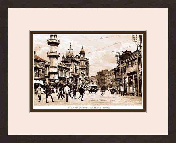 Old Vintage Bombay (Mumbai) Wooden Photo frame of Pydownie (Mohammed Ali Road) Fine Art Print