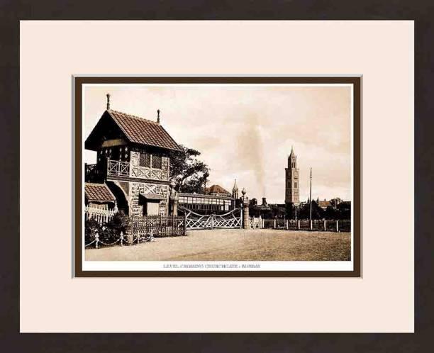 Old Vintage Bombay (Mumbai) Wooden Photo frame of Level Crossing Churchgate Fine Art Print