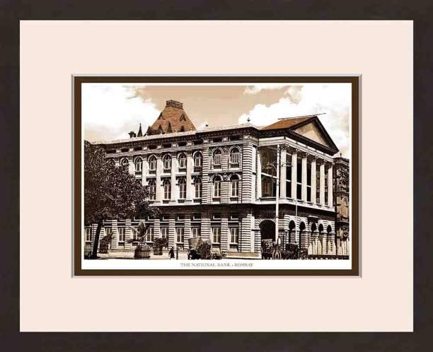Old Vintage Bombay (Mumbai) Wooden Photo frame of The National Bank Fine Art Print