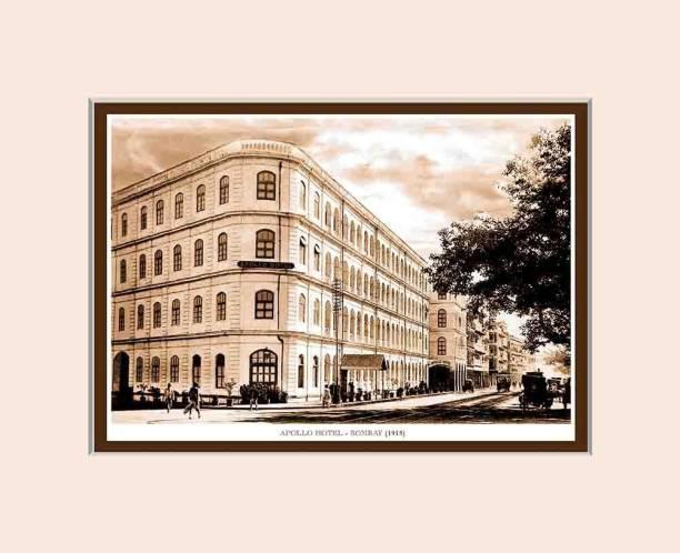 Old Vintage Bombay (Mumbai) Mounted Photo Frame of Apollo Hotel Fine Art Print