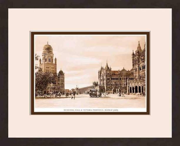 Old Vintage Bombay (Mumbai) Wooden Photo frame of Municipal Hall & Victoria Terminus Fine Art Print