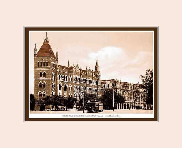 Old Vintage Bombay (Mumbai) Mounted Photo Frame of Orintal Building & Hornby Road Fine Art Print