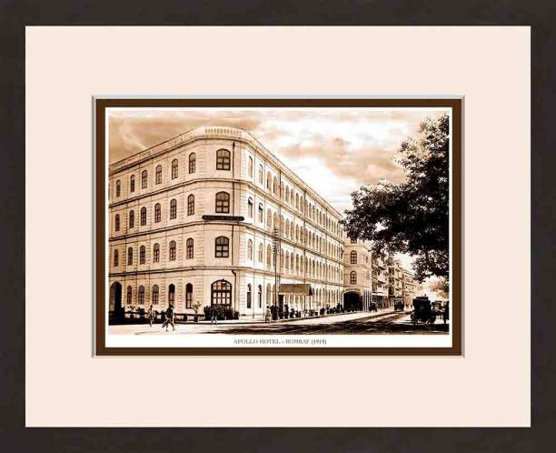 Old Vintage Bombay (Mumbai) Wooden Photo Frame of Apollo Hotel Fine Art Print