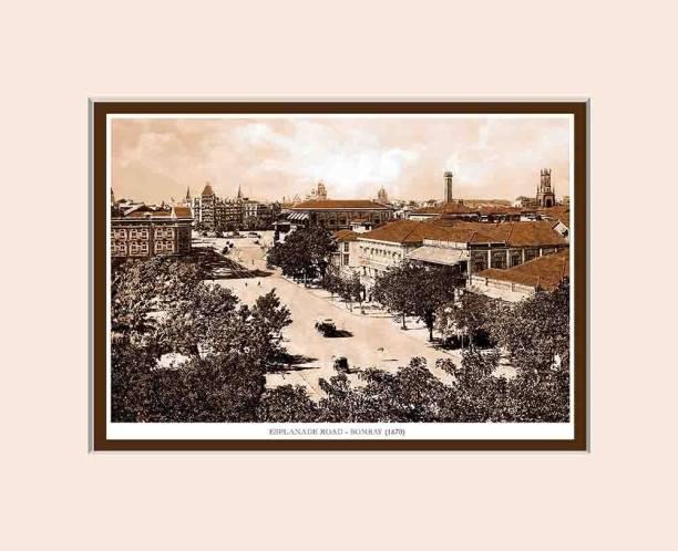 Old Vintage Bombay (Mumbai) Mounted Photo Frame of Esplande Road Fine Art Print