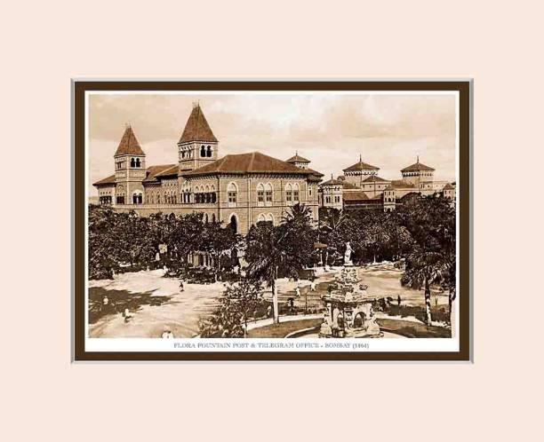Old Vintage Bombay (Mumbai) Mounted Photo Frame of Flora Fountain & Telegram Office Fine Art Print