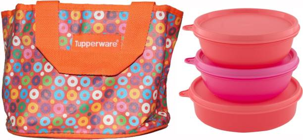 Tupperware Girls Day Pink and Red Lunch box with bag 3 Containers Lunch Box