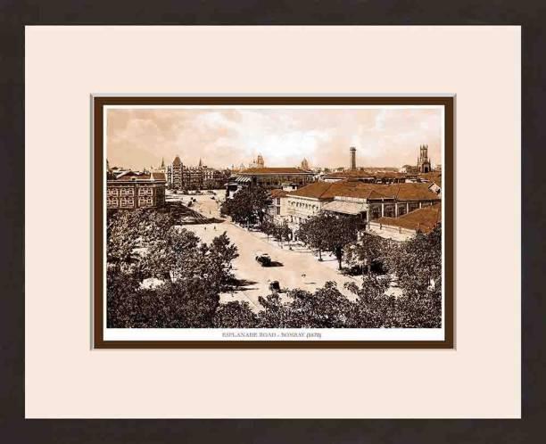 Old Vintage Bombay (Mumbai) Wooden Photo frame of Esplande Road Fine Art Print