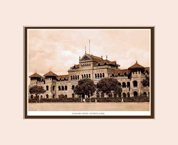 Old Vintage Bombay (Mumbai) Mounted Photo Frame of Sailors Home Fine Art Print