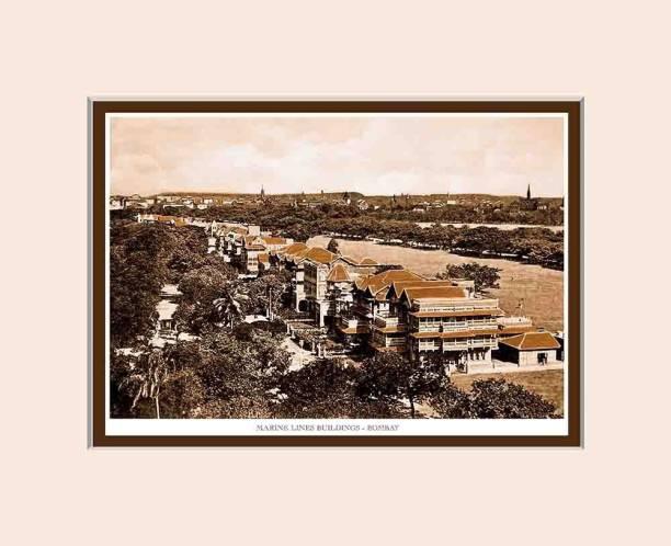 Old Vintage Bombay (Mumbai) Mounted Photo Frame of Marine Lines Fine Art Print