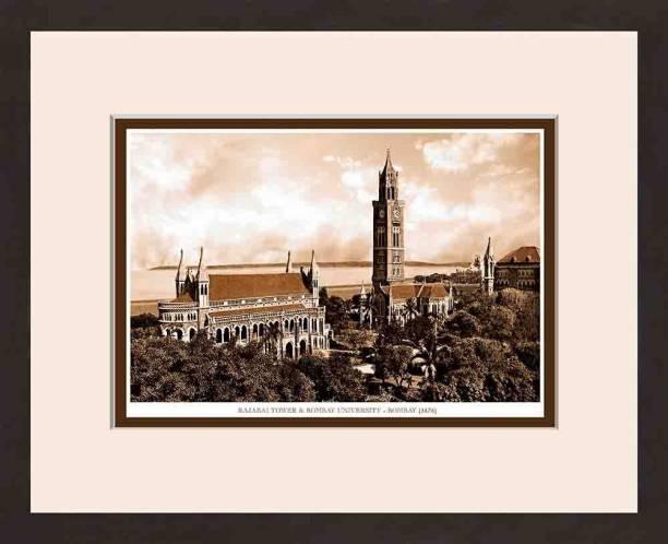 Old Vintage Bombay (Mumbai) Wooden Photo frame of Rajabai Tower & Bombay University Fine Art Print