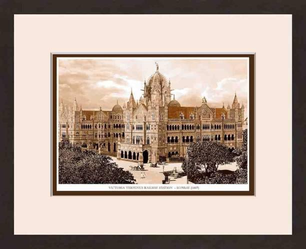 Old Vintage Bombay (Mumbai) Wooden Photo frame of Victoria Terminus Railway Station Fine Art Print