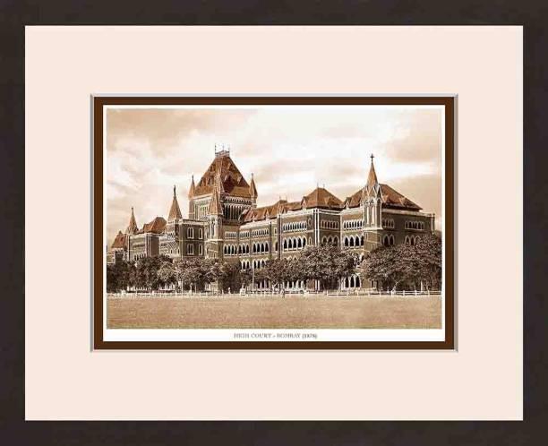 Old Vintage Bombay (Mumbai) Wooden Photo frame of High Court Fine Art Print