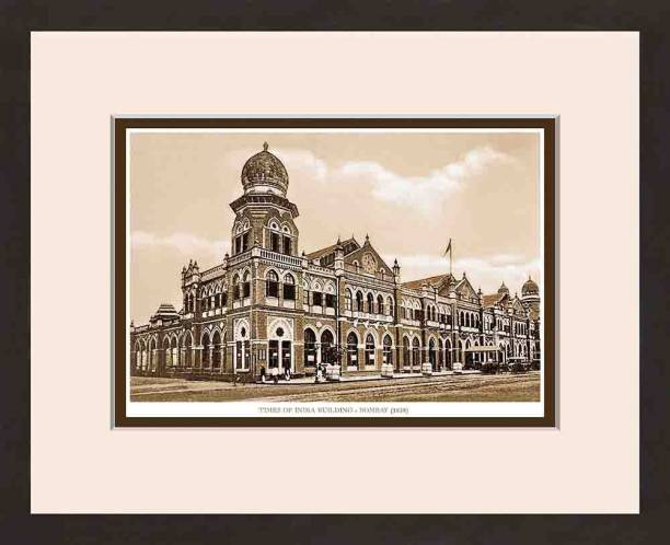Old Vintage Bombay (Mumbai) Wooden Photo frame of Times of India Building Fine Art Print