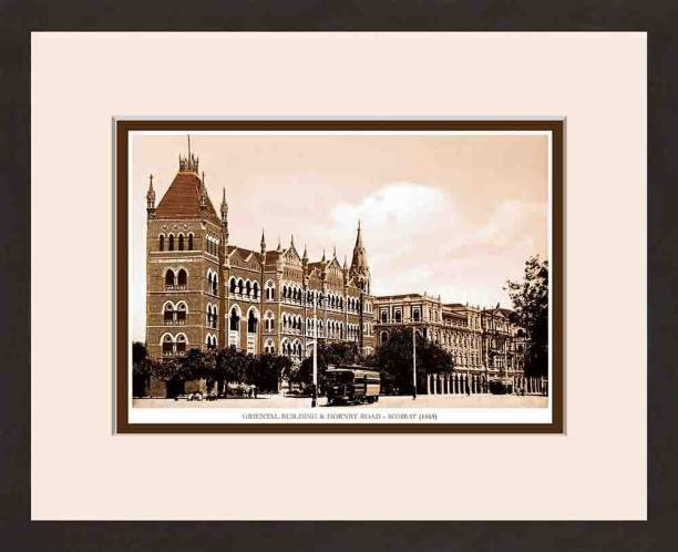 Old Vintage Bombay (Mumbai) Wooden Photo frame of Orintal Building & Hornby Road Fine Art Print