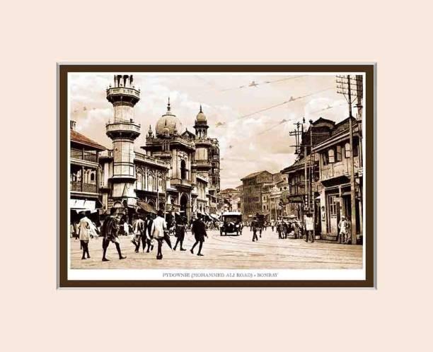 Old Vintage Bombay (Mumbai) Mounted Photo Frame of Pydownie (Mohammed Ali Road) Fine Art Print