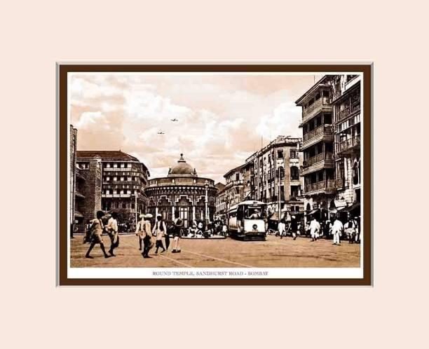 Old Vintage Bombay (Mumbai) Mounted Photo Frame of Round Temple Sandhurst Road Fine Art Print