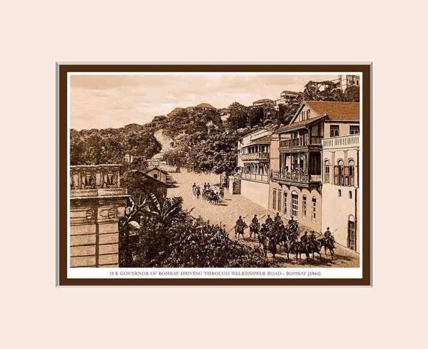 Old Vintage Bombay (Mumbai) Mounted Photo Frame of H E Governor of Bombay Driving Through Walkeshwar Road Fine Art Print