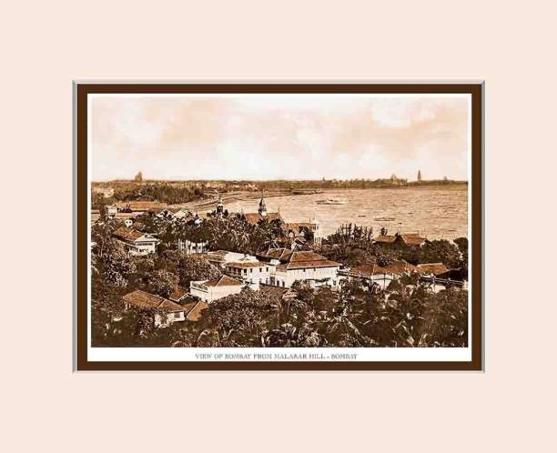 Old Vintage Bombay (Mumbai) Mounted Photo Frame of View of Bombay from Malabar Hill Fine Art Print