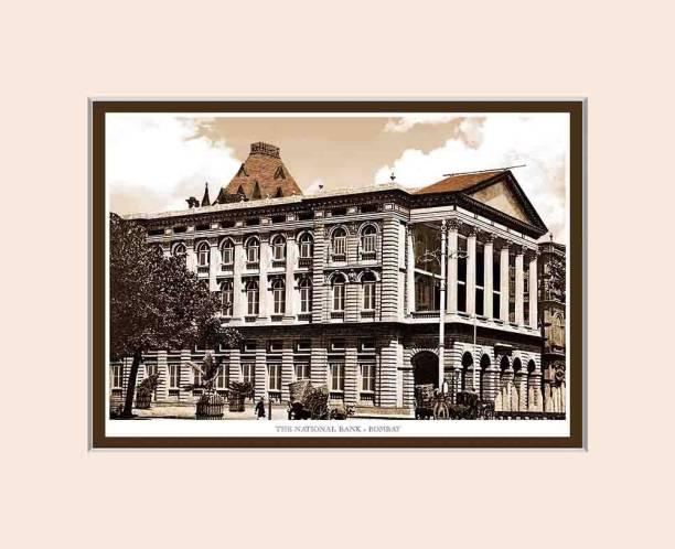 Old Vintage Bombay (Mumbai) Mounted Photo Frame of The National Bank Fine Art Print