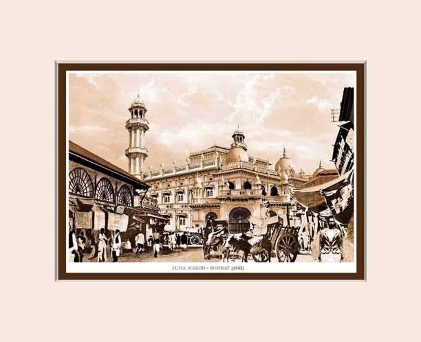 Old Vintage Bombay (Mumbai) Mounted Photo Frame of Juma Masjid Fine Art Print